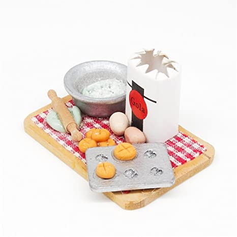 1:12 Baking Bread Egg Flour Cake Rolling Pin Set Cutting Board Kitchen Miniature by Miniature