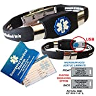 Waterproof black silicone ELITE PLUS USB medical alert ID bracelet with 2 GB USB and custom engraving on exclusive acrylic plate (includes up to 10 lines of custom engraving)