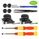 Younik 2-Pack 3D Replacement Joystick Analog Thumb Stick for Nintendo Switch Joy-Con Controller-with 4 Thumbstick Caps,Tri-Wing & Cross Screwdriver and Fixing Tool (Color: 2 Pack, Tamaño: 2 pack)