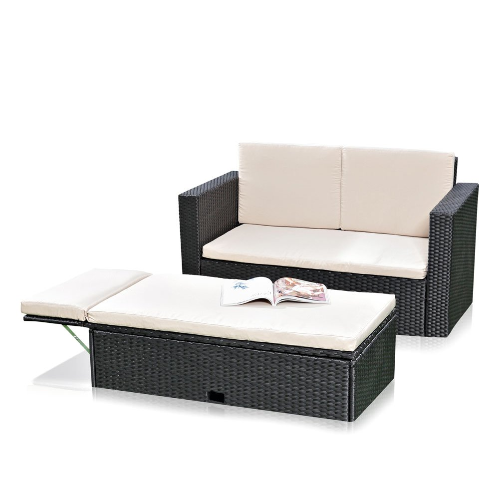 polyrattan gartensofa mit klappbarer fu bank in schwarz inkl auflagen g nstig. Black Bedroom Furniture Sets. Home Design Ideas