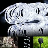 LE® 16.5ft LED Solar Rope Lights, Waterproof, 50 LEDs, Outdoor Rope Lights, Daylight White, String Light, Portable, with Light Sensor, Ideal for Christmas, Wedding, Party, Decorations, Gardens, Lawn, Patio
