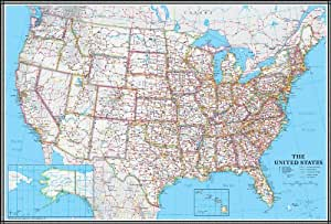 Amazon.com : 24x36 United States, USA US Classic Wall Map Poster Mural
