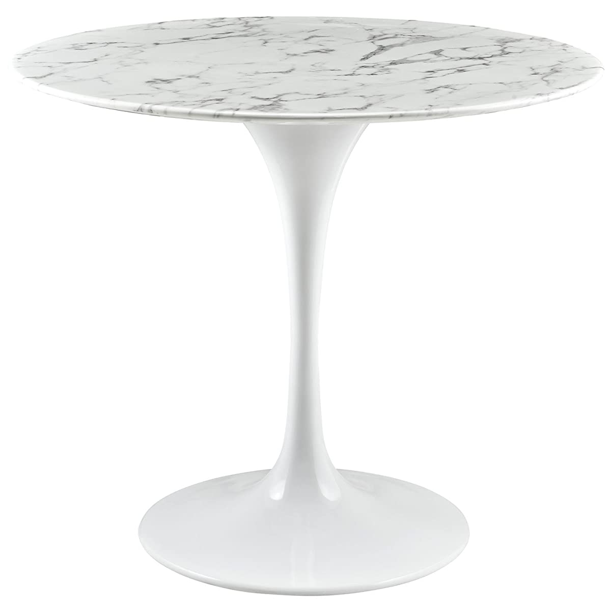 "Modway Lippa 36"" Artificial Marble Dining Table in White"