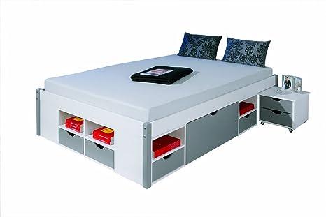 Links 20901070 Bett 140x200 cm Doppelbett Stauraumbett Funktionsbett grau Rost Kiefer massiv