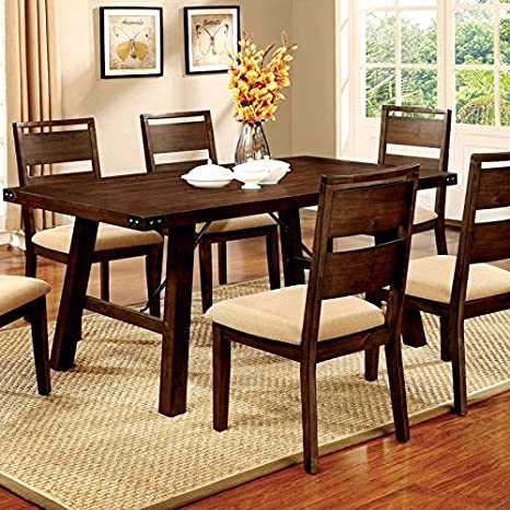 Dwight Country Style Vintage Dark Oak Finish 5-Piece Dining Table Set