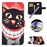 Etsue Magnetic Book Wallet Case for Samsung Galaxy S6 Edge,Cool Big Mouth Cat Design Leather Flip Case Cover with Stand for Samsung Galaxy S6 Edge +Blue Stylus Pen+Bling Glitter Diamond Dust Plug(Colors Random)-Big Mouth Cat
