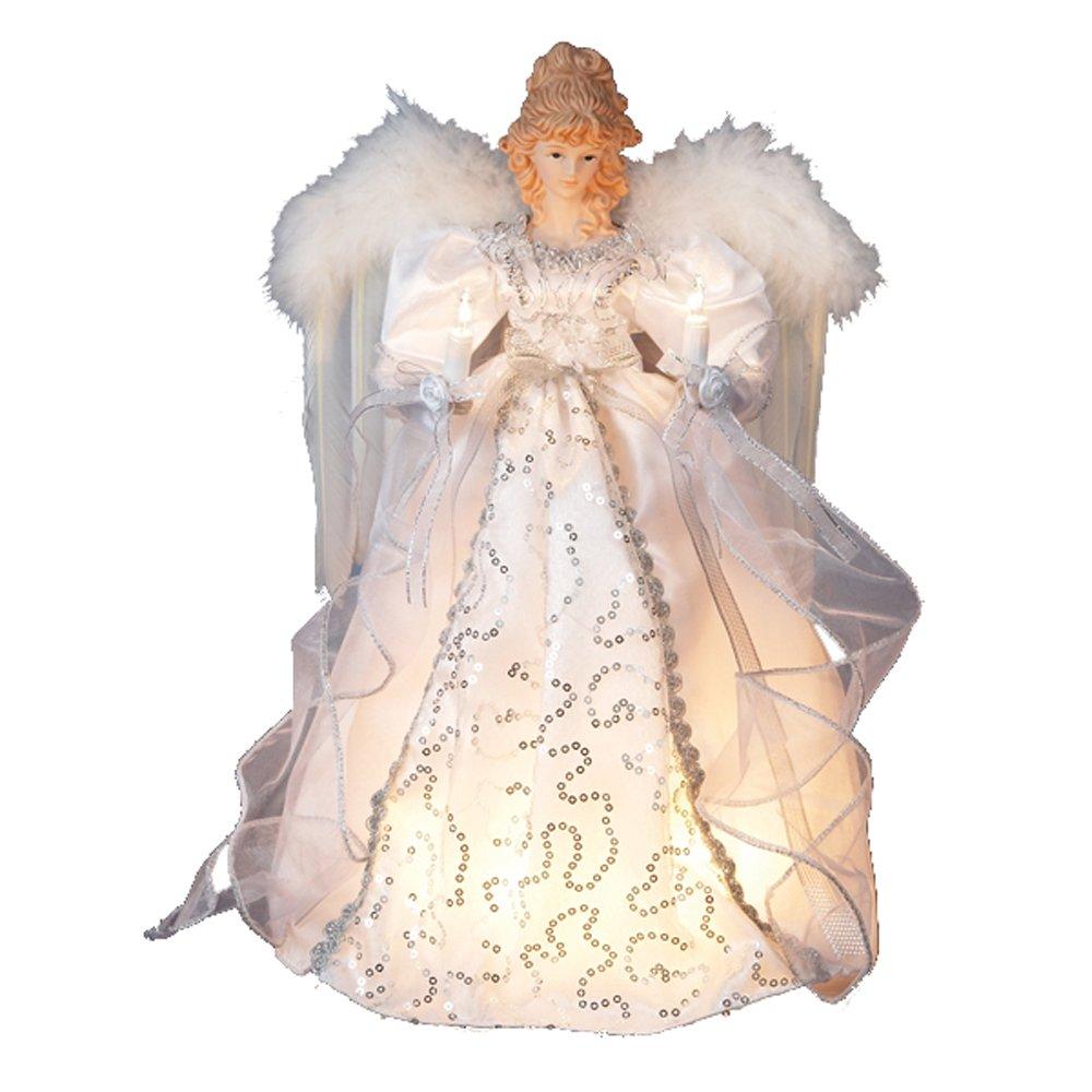 Kurt adler 14 quot 10 light white and silver angel treetop