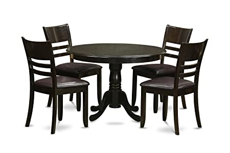 East West Furniture HLLY5-CAP-LC 5-Piece Kitchen Table and Chairs Set, Cappuccino Finish