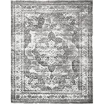 Unique Loom Sofia Collection Gray 8 x 10 Area Rug (8 x 10)