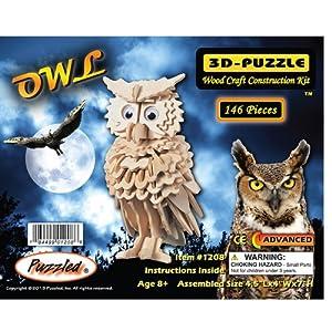 Owl - 3D Jigsaw Woodcraft Kit Wooden Puzzle