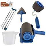 Paint Roller Brush Tools Set,8 Pcs Paint Roller Pro with 3 Extension Handle Stick Paint Runner Pro,No Prep, No Mess,Transform Your Room in Just Minutes Quickly Decorate As Seen On Tv (Color: Blue)