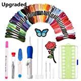 [Upgraded]Punch Needle Embroidery Kit,Magic Embroidery Pen Punch Needle Set with 50 Colors Threads&Embroidery Tools (Color: Punch Needle)