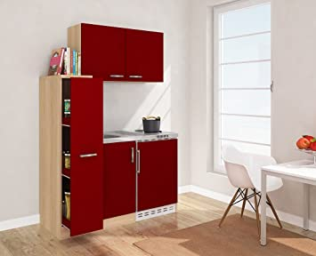 Respekta MK 130 cm Mini Kitchen Single Kitchen including Wall Cabinet Imitation Rough Sawn Oak Front Red 130 Esros