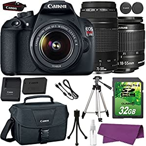Canon EOS Rebel T5 DSLR Camera with Canon EF-S 18-55mm IS Lens + Canon EF 75-300mm III Lens + 32GB SD Memory Card + Canon Bag + Cleaning Kit + Tripod