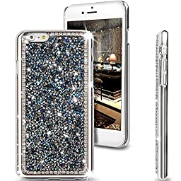 iPhone 6S Plus Case,iPhone 6 Plus Case,ikasus Luxury Shiny Sparkle Bling Glitter Handcraft Crystal [Rhinestone Diamond] Hard Plastic Plated Slim Case Cover for iPhone 6S Plus / iPhone 6 Plus,Dark Blue