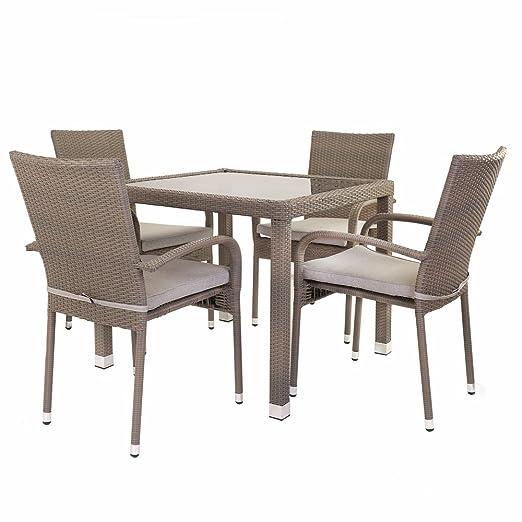 Conjunto de mesa y sillas para terraza marrón de plástico Garden - Lola Derek