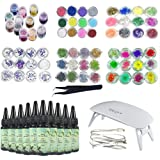 10X30ML Epoxy Resin, 72Pcs Decorations with Colorful Dry Flowers and Glitter Powder, Sequins Stickers Glitter Flowers Patterns, Nature Coral 3D Seaweed Dry Preserved Flowers with Tweezer, Mini Lamp (Tamaño: 10resin+72Decor+Lamp+Tweezer)