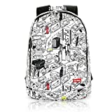 Backpacks & bookbags - hand-painted graffiti city design women / men travel / laptop backpack bag white