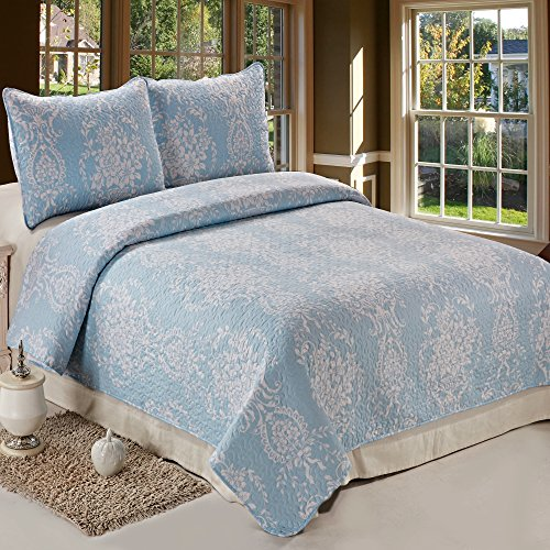 C.CTN 3pc Reversible Printed Quilt Set,Queen Size,Light Blue