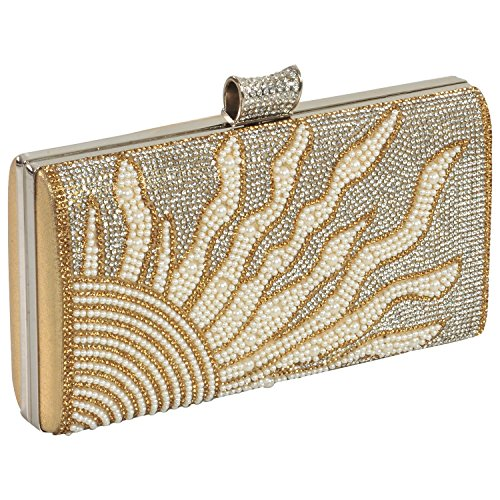 ELEGANT-PREMIUM-EVENING-CLUTCH-BAG-WITH-PATTERNED-PEARL-RHINESTONE-GLITTERS-DIAMONDS-AND-ADJUSTABLE-SHOULDER-CHAIN-SNAP-CLOSURE-SMOOTH-INNER-SATIN-hard-box-shiny-fashionable-party-wear-bling-wallet-ha