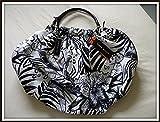 Karen Millen tropical print black white tote bag GJ150