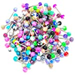 Tinksky Colorful Women Tongue Ring Ba...