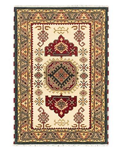 Hand-Knotted Royal Kazak Rug, Cream, 4' 1 x 6'