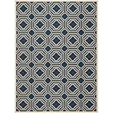 Safavieh Courtyard Collection CY6112-268 Navy and Beige Indoor/ Outdoor Area Rug, 8 feet by 11 foot (8' x 11')
