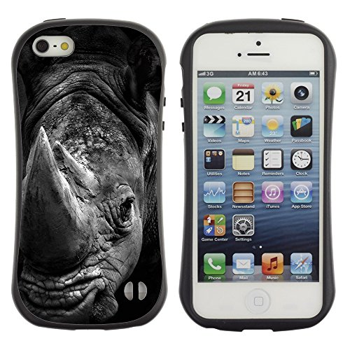 Apple Iphone 5 / 5S - iFace Series Soft Tpu Skin Bumper Case Cover (Rhino Black White Africa Animal Nature) (Rhino Shield Bumper Iphone 5s compare prices)