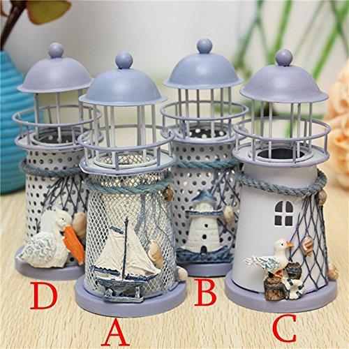 Iron Lighthouse Candle Holder Lanterns Fragrance Aroma Lamp Environmental Spa Aromatherapy (C) (Tin Tart Burner Electric compare prices)