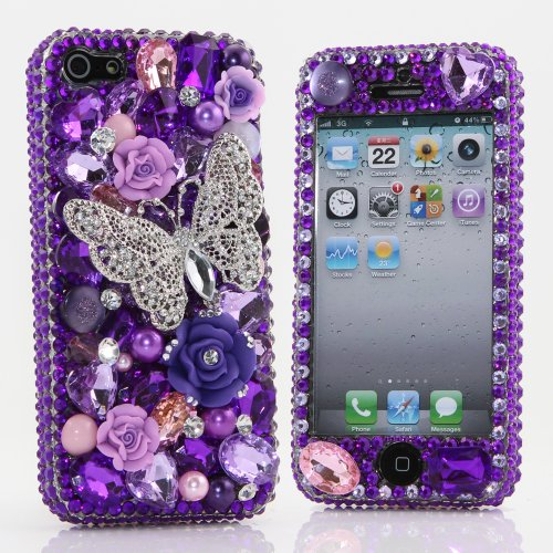 Great Sale Bling iphone 5 5S Case Cover Faceplate Luxury 3D Swarovski Crystal Diamond PUrple Butterfly Design (100% Handcrafted by BlingAngels)