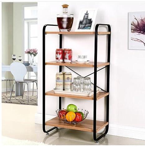 Estante de cocina de acero Estante de almacenamiento de baño Cuarto de estar Cuatro estantes de estantería Marco decorativo Negro 48 * 33 * 96cm ( Color : Negro )