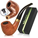 Scotte Tobacco Pipe Handmade Ebony Wood Root Smoking Pipe Gift Box and Accessories (Black&B) (Color: Black&b)
