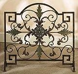Fireplace Screen Brown Bronze Green Metal Scroll Work Leaf Décor 21634