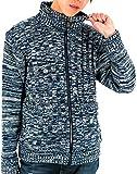 (マルカワジーンズパワージーンズバリュー) Marukawa JEANS POWER JEANS VALUE セーター メンズ ブランド フルジップ タートルネック ハイネック 4color M ネイビー