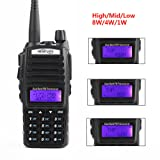 HESENATE HT-UV82X Tri-Power 8/4/1W Dual PTT Dual Band Two-Way Radio VHF 2M UHF 70cm Amateur Hand held Transceiver (HAM)