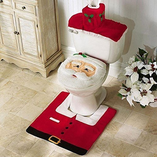Christmas-Decorations-Happy-Santa-Toilet-Seat-Cover-and-Rug-Bathroom-Set