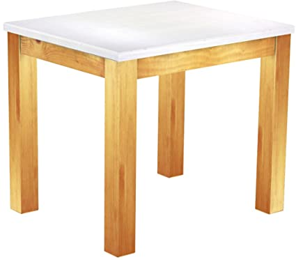 Brasil Furniture Dining Table 'Rio' 90x 73cm Solid Pine Wood–Snow–Honey Colour