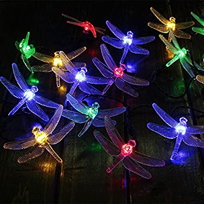 Outdoors Solar LED String Lights, GRDE® 16.4 Feet 20 LED Solar Powered Dragonfly Fair Lights Lighting and Decoration for Holiday Christmas Garden Patio Lawn Fence Yard, Multi-colors