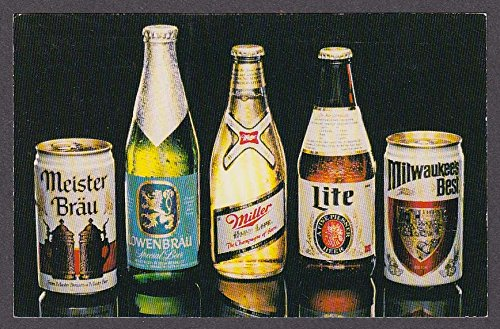 Meister Brau Lowenbrau Miller High Life Lite Milwaukee's Best beer postcard 1984