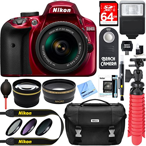 Nikon D3400 24.2 MP DSLR Camera + AF-P DX 18-55mm VR NIKKOR...
