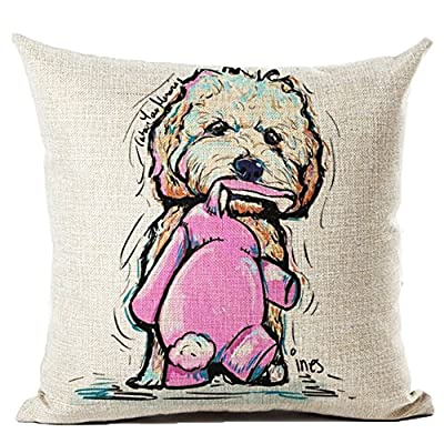 Coolsummer Cute Cartoon Dog Series Linen Square Throw Pillow Cover Decorative Cushion Pillowcase Cushion Case for Sofa,Bed,Chair 18 X 18 Inch