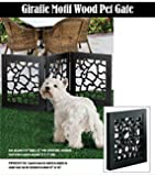 DIE-CUT 3 PANEL ADJUSTABLE WOOD GIRAFFE MOTIF PET GATE