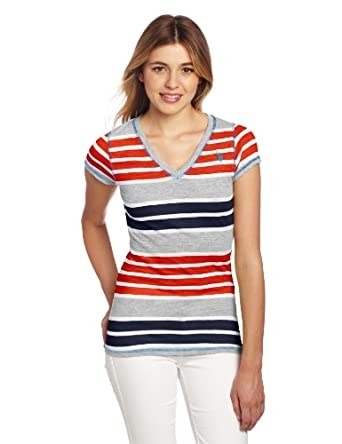 U.S. Polo Assn. Juniors Striped T-shirt With V-neckline, Red Burst, Small