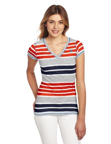 U.S. Polo Assn. Juniors Striped T-Shirt With V-Neckline, Red Burst, Small