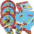 37-teiliges Party-Set Feuerwehrmann Sam - Teller Becher Servietten Tischdecke für 8 Kinder