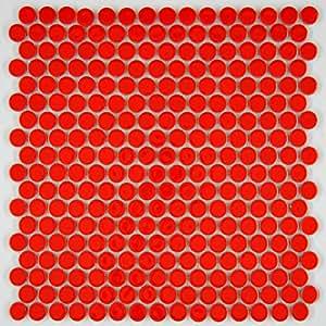 Vogue Tile Penny Round Vintage Red Porcelain Mosaic For
