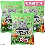 デオトイレ 飛び散らない緑茶・消臭サンド 4L お買い得3袋入り 猫砂 紙 燃やせる