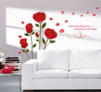 decals design romantic rose flowers wall sticker pvc vinyl - Wall Decals Designs