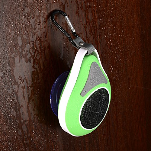 Masione™ Waterproof Mini Bluetooth Shower Outdoor Speaker Enhanced Bass Audio Crystal Clear Sound With 6 Hours Playtime Built-In Microphone Hands-Free Call With Suction Cups Metal Hook For Iphone Ipad Samsung Galaxy Smart Phones Tablets Mp3 Player (Green) front-154030